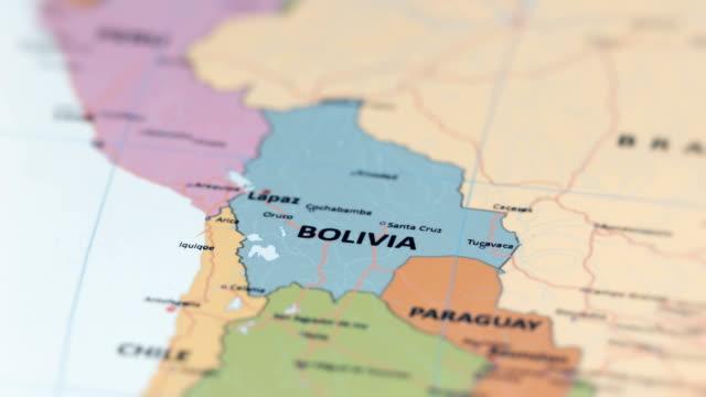 south america bolivia on world map - sud est video stock e b–roll