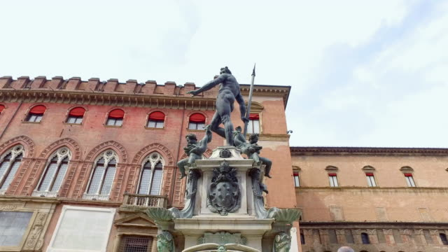 Bologna, Italy, statue of Neptune with Trident video