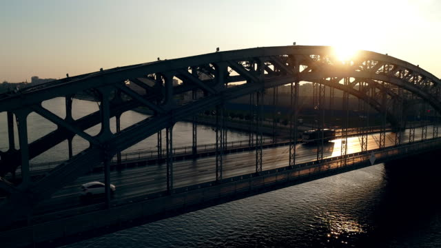 bolsheokhtinsky bridge aerial shot of a summer of morning in saint petersburg. - treedeo saint petersburg stock videos & royalty-free footage