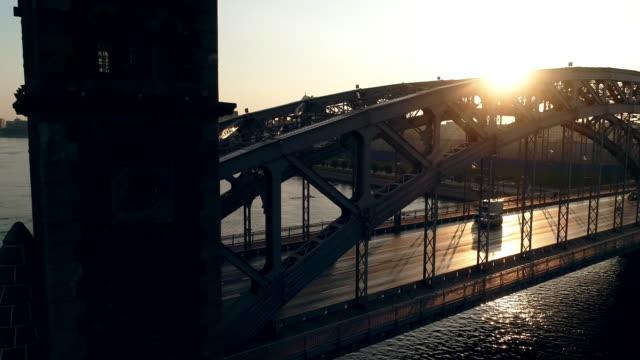 Bolsheokhtinsky Bridge Aerial shot of a summer of morning in Saint Petersburg. Bolsheokhtinsky Bridge Aerial shot of a summer of morning in Saint Petersburg. treedeo saint petersburg stock videos & royalty-free footage