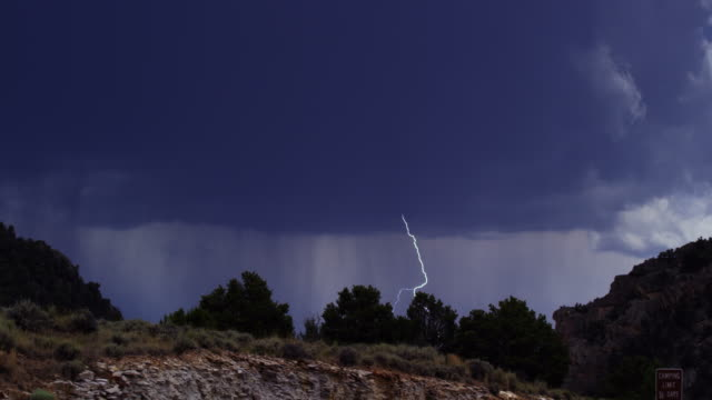 A Bolt of Lightning Flashes During a Rainstorm in Flaming Gorge, Utah
