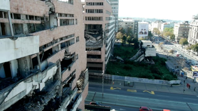Bombed building video