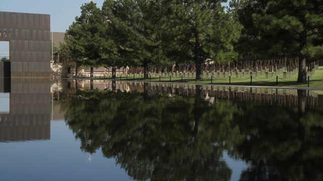 OKC Bombing Memorial Reflecting Pool and Field of Empty Chairs video