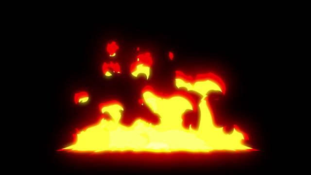 vídeos de stock, filmes e b-roll de bonfire cartoon frame animation 4k 2d mão desenhada - fogo