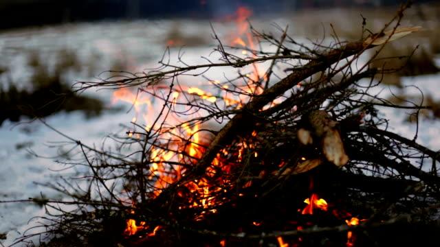 Bonfire in the snow on the background of a beautiful winter landscape. Carpathians. Ukraine Bonfire in the snow on the background of a beautiful winter landscape with mountains covered with forest. Carpathians. Ukraine firewood stock videos & royalty-free footage