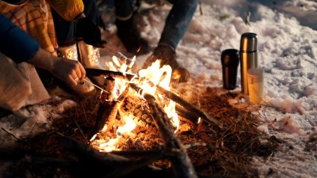 kış ormandaki şenlik ateşi. gece vakti. lokum kızartma. thermocouples karda hazır. - şenlik ateşi stok videoları ve detay görüntü çekimi