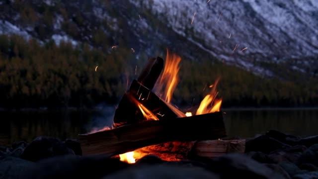 şenlik ateşi dağları kar ile geç akşam, altay dağları'nda alt multinskoe gölü kıyısında - şömine odunu stok videoları ve detay görüntü çekimi