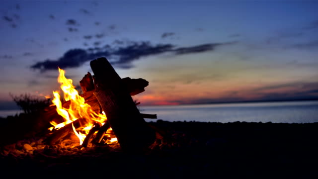 ms lagerfeuer am strand - camping stock-videos und b-roll-filmmaterial