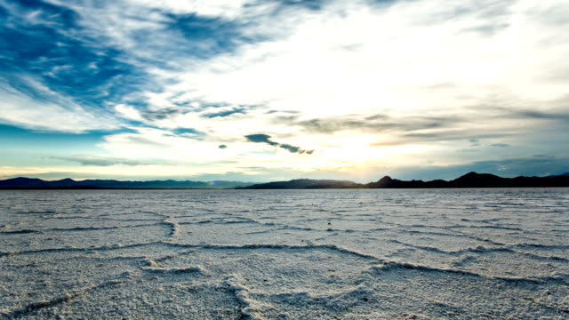 Bonneville Salt Flats sunset timelapse Bonneville Salt Flats sunset timelapse salt flat stock videos & royalty-free footage