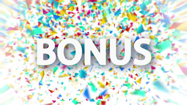 Bonus white sign with falling confetti animation Bonus white sign with falling colorful confetti animation on white background incentive stock videos & royalty-free footage