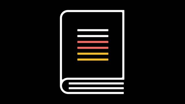 stockvideo's en b-roll-footage met boek cover lijn pictogram animatie met alpha - magazine mockup