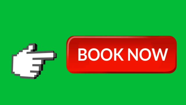 Book now button with pointing hand 4k