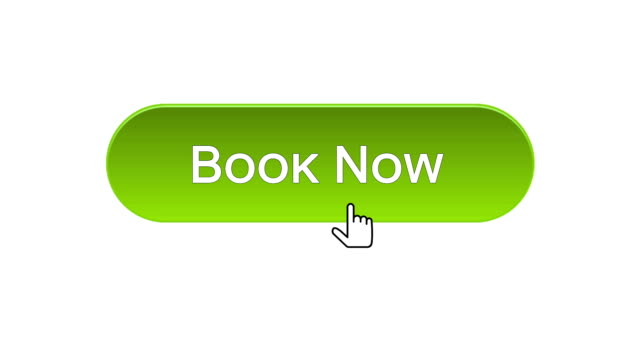 Book now web interface button clicked with mouse cursor, different color choice