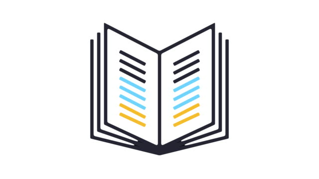 Book Reading Icon Animation Thin line animation of open book pages icon on white background. open book stock videos & royalty-free footage