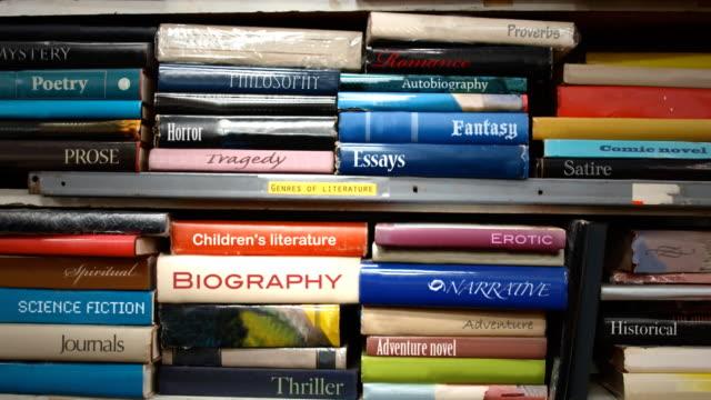Book shelf Genres of Literature video