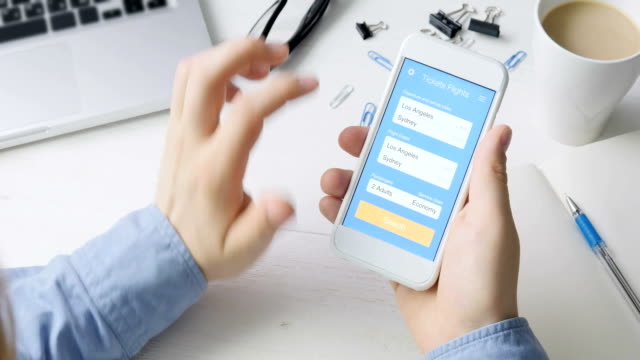 Booking plane ticket using smartphone application video