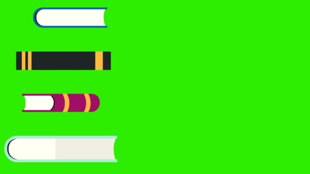 vídeos de stock e filmes b-roll de books are dropping to a book pile on a green screen - dossier