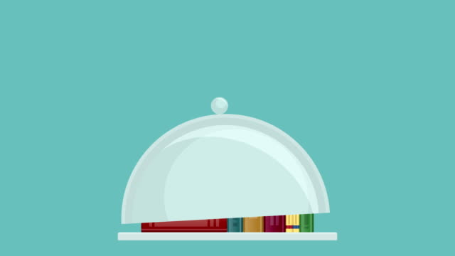 Books on tray. Food for brain video