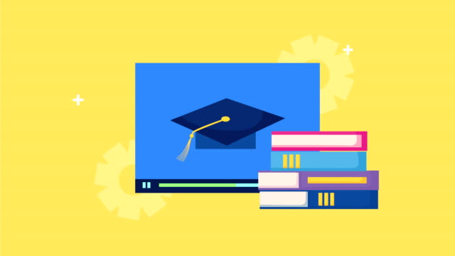 books with graduation hat in webpage books with graduation hat in webpage ,FullHD video animated textbook stock videos & royalty-free footage
