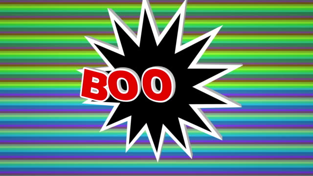Boom comic pop art text against colorful background video