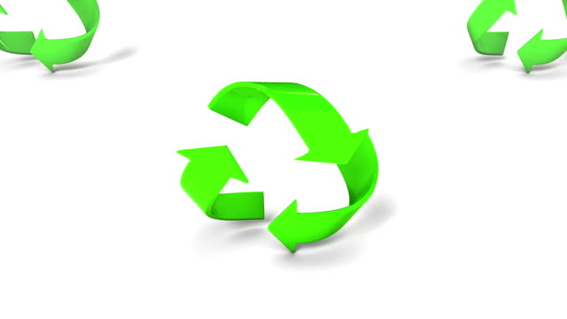 Boom down from a single revealing endless Recycle symbols video