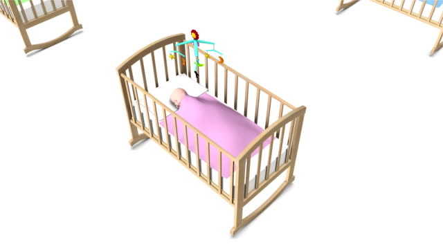 Boom down from single Baby in Crib revealing endless Cribs video