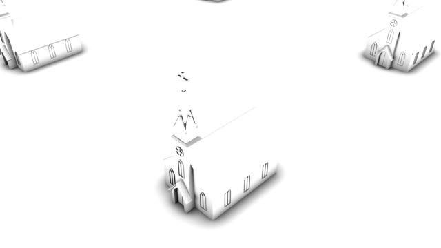 Boom down from single church revealing endless churches (white)