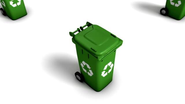 Boom down from single Recycle Bin revealing endless Bins (Green) video