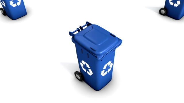 Boom down from single Recycle Bin revealing endless Bins (Blue) video