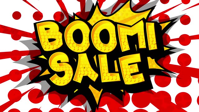 Boom Sale Comic book style advertisement text.