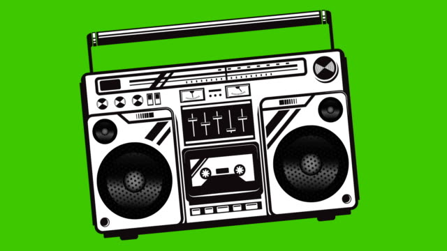 Boombox animation on green background