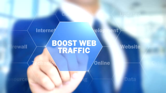 Boost Web Traffic, Man Working on Holographic Interface, Visual Screen video