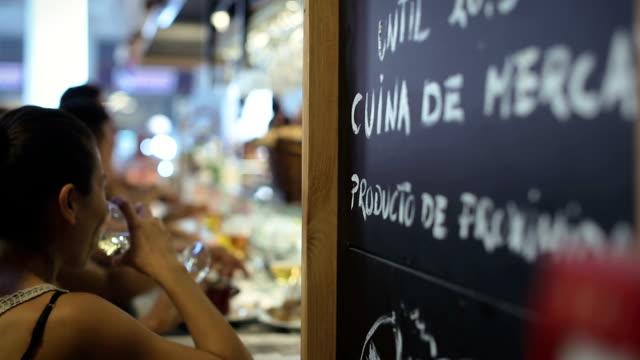 Boqueria market restaurant in Barcelona video