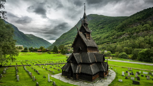 TIME LAPSE: Borgund Stave Church in Norway video