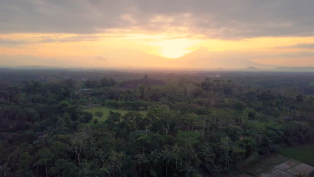 borobudur temple aerial view at sunrise a unesco site and world largest buddhist temple, indonesia - buddha video stock e b–roll