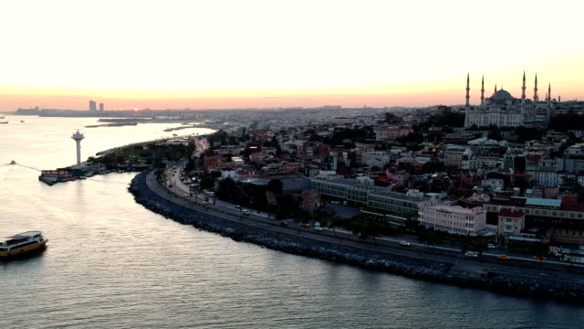 Bosphorus and Blue Mosque in Early Morning, Istanbul, Turkey video