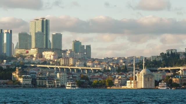 日没時のイスタンブールのボスポラス海峡とヨーロッパ、トラキア側、トルコ - モスク点の映像素材/bロール