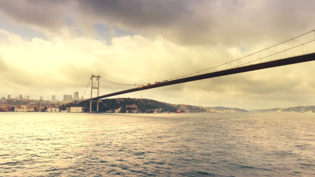 Bosporus Bridge (Fatih Sultan Mehmet Bridge)connect between two continental Asia and Europe in Istanbul