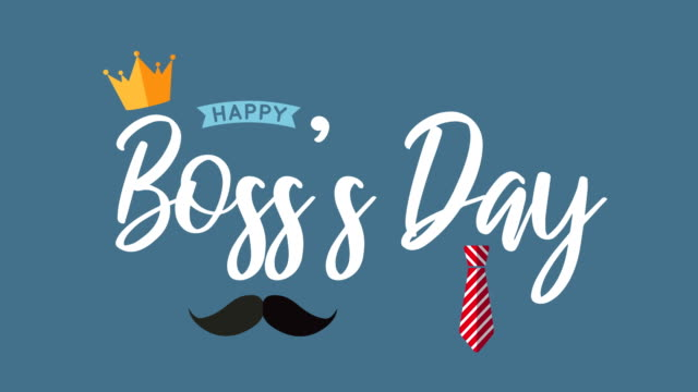 Boss's Day with crown, mustache and necktie. 4k animation Boss's Day with crown, mustache and necktie. 4k animation boss's day stock videos & royalty-free footage