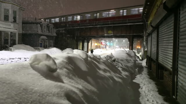 Boston Blizzard 2015. Snowiest Winter in Boston's History Snowiest Winter in Boston's History. More than 9  feet of snow shutdown all subway and rail services leading to the activation of the National Guard to help clear the snow.  2015 stock videos & royalty-free footage