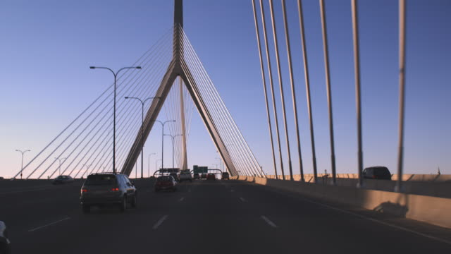 Boston bridge driving POV late afternoon video