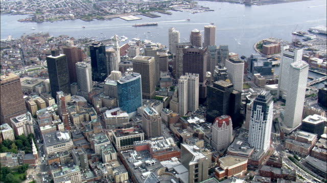 Boston city centre - Aerial View - Massachusetts,  Suffolk County,  United States video