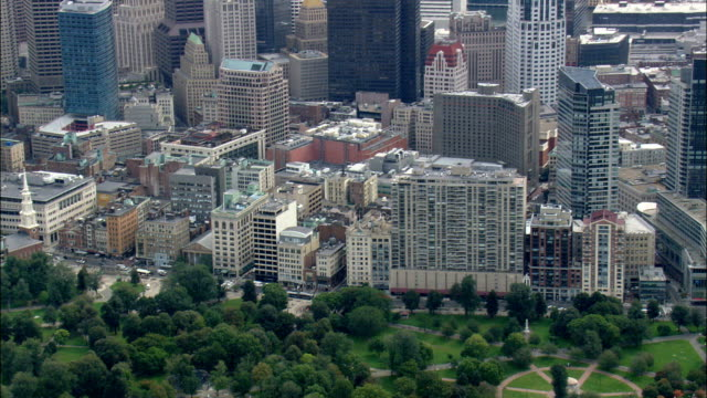 Boston Common  - Aerial View - Massachusetts,  Suffolk County,  United States video