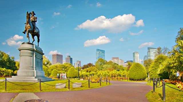 Boston Common Park. Skyline. George Washington Statue