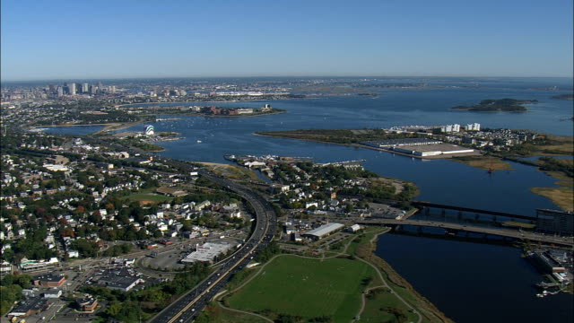 Boston From the South  - Aerial View - Massachusetts,  Suffolk County,  United States video