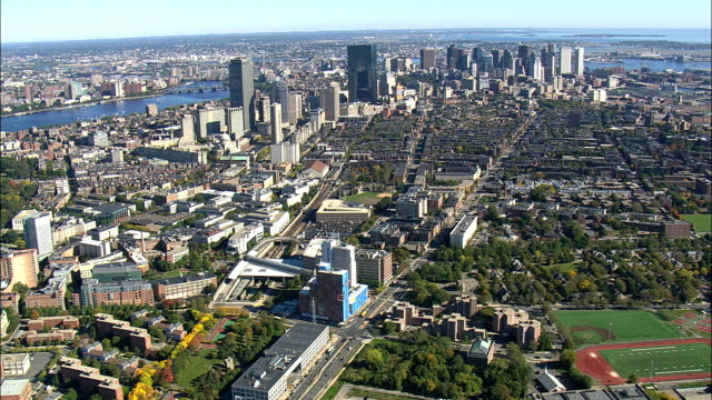 Boston from the west - Aerial View - Massachusetts,  Norfolk County,  United States video