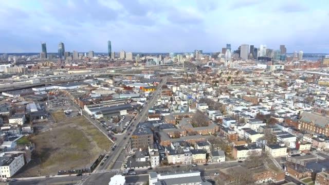 boston massachusetts skyline aerial from south boston 1 - sud est video stock e b–roll