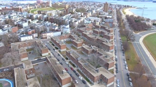 boston massachusetts skyline aerial from south boston 5 - sud est video stock e b–roll