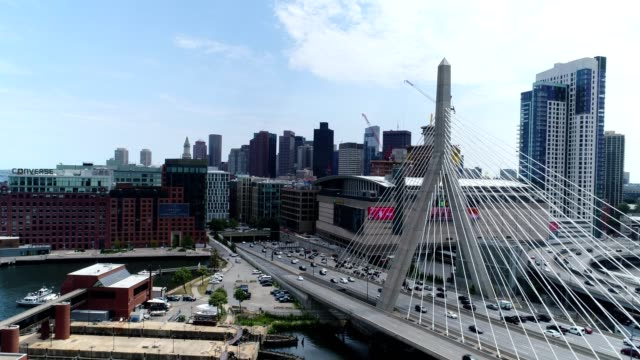 Boston Skyline Aerial - Zakim Bridge video