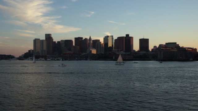 Boston skyline at sunset video